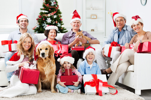 family-celebrating-christmas-with-pets