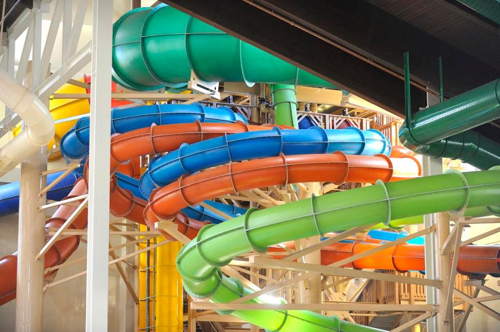 Tubes from water rides high above the water park at Great Wolf Lodge in Garden Grove.